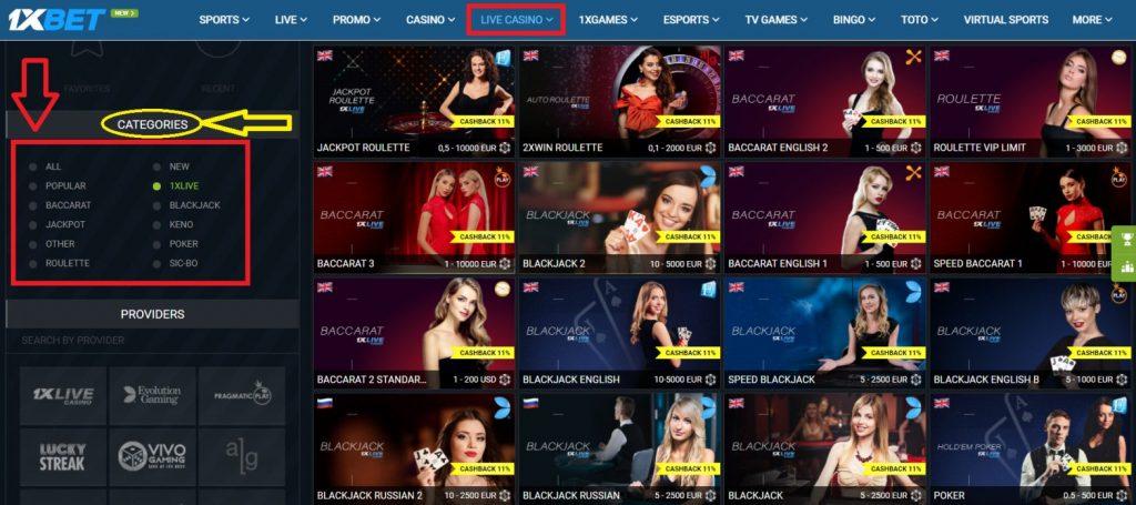 1xBet live casino category